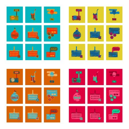 gift basket: assembly of flat shading style icon Set gifts and discounts Illustration