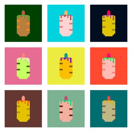 hot dog: Set Pixel icons of French hot dog Illustration