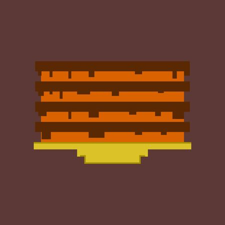 bakery products: pixel icon in flat style Pancake with jam