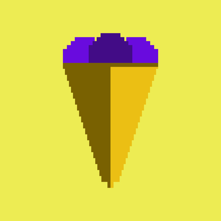 pixel icon in flat style ice cream cone Illustration