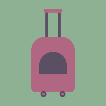 rolling bag: Icon in flat design for airport suitcase on wheels