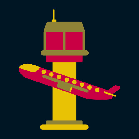 mode of transport: Icon in flat design for airport plane takes off