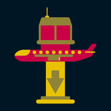 Icon in flat design for airport plane landing