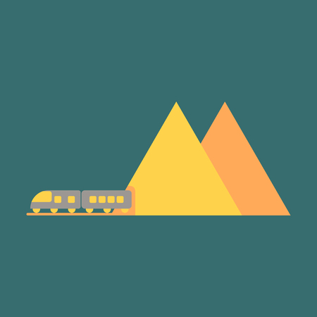 Icon in flat design for airport mountain train Illustration