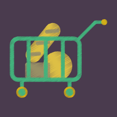 Flat Icon in Shading Style shop cart with food