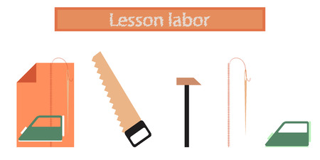 school class: assembly of flat icons school work lesson Illustration