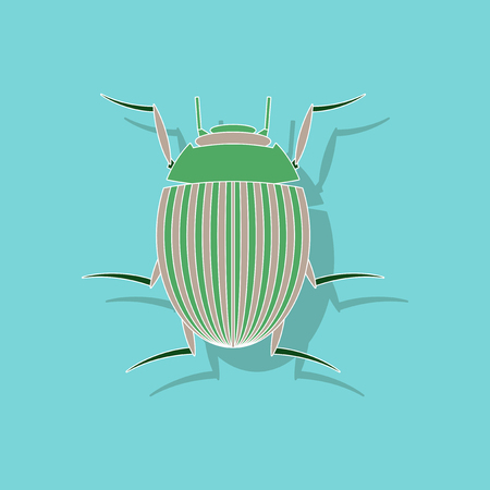 paper sticker on background of Colorado beetle