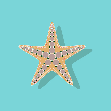 paper sticker on background of starfish