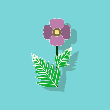 paper sticker on background of papaver Illustration