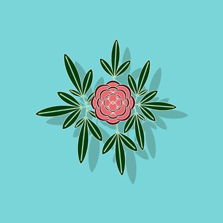 paper sticker on background of flower paeonia