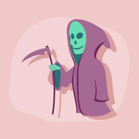 guadaña: paper sticker on stylish background halloween death scythe Vectores