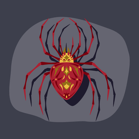 paper sticker on stylish background halloween spider Illustration