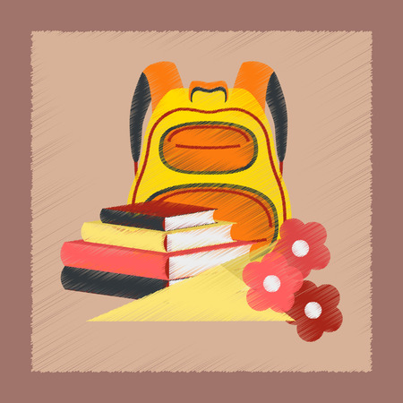 flat shading style icon book bag flowers