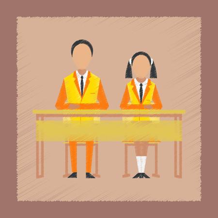 classbook: flat shading style icon pupils at school desk