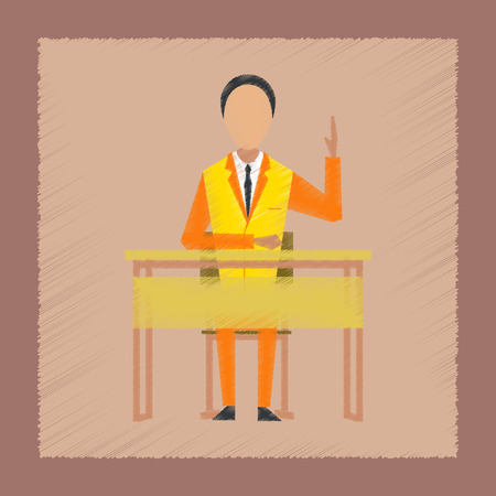flat shading style icon pupil at school desk