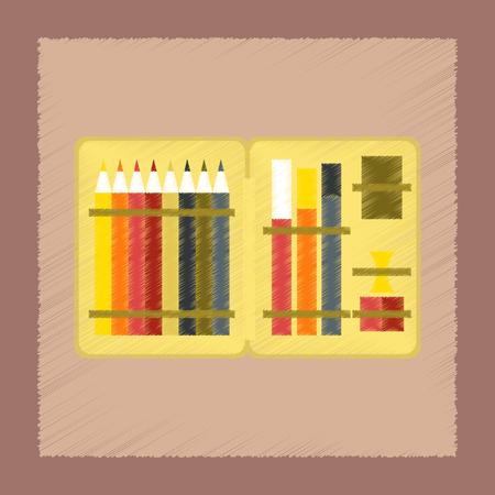 old fashioned: flat shading style icon pencil box pencil pen Illustration