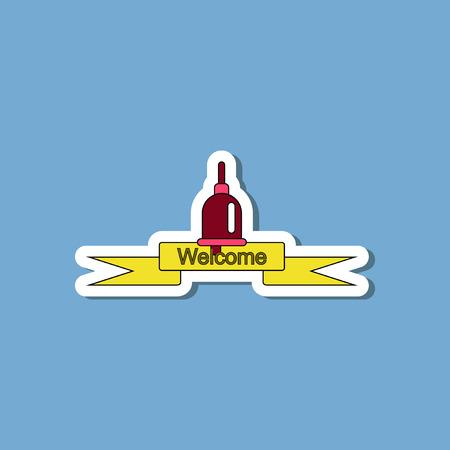 paper sticker on stylish background school bell