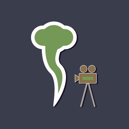paper sticker on stylish background tornado camera