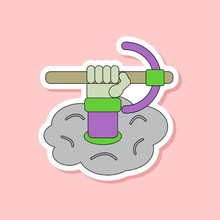 paper sticker on stylish background hammer in hand avalanche