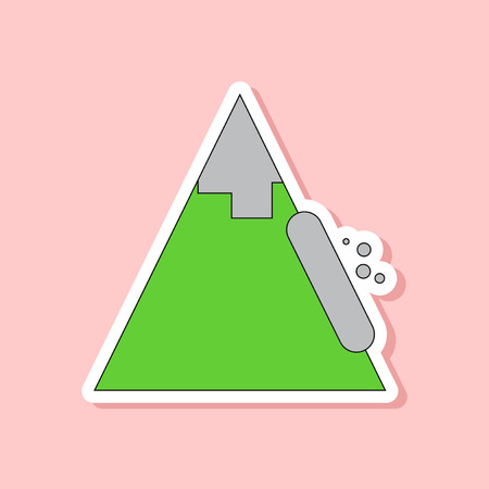 paper sticker on stylish background snow avalanche
