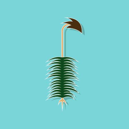 paper sticker on stylish background plant Polytrichum Çizim