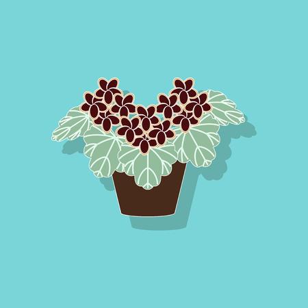 paper sticker on stylish background plant Pelargonium Illustration