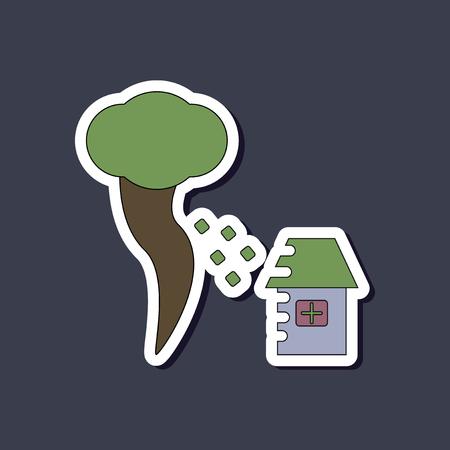 paper sticker on stylish background tornado destruction house Illustration