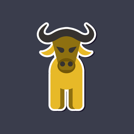 yak: paper sticker on stylish background cartoon bull