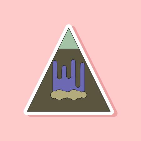 paper sticker on stylish background mountain avalanche
