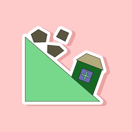 paper sticker on stylish background Mountain stones fall
