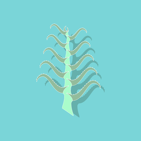 paper sticker on stylish background plant Aloe Illustration