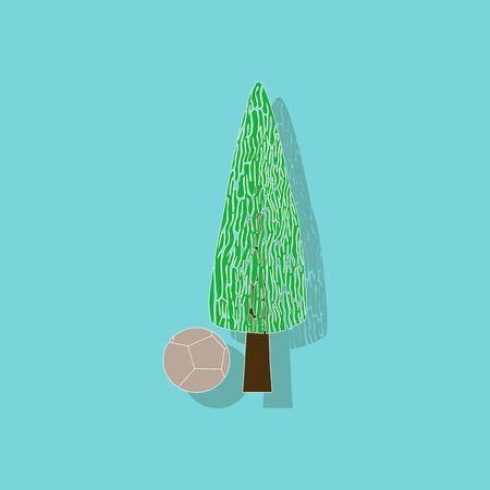 paper sticker on stylish background plant Cupressus Illustration