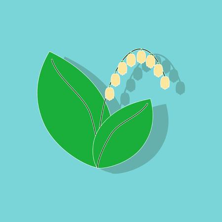 paper sticker on stylish background plant Convallaria