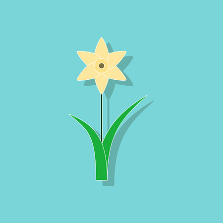 paper sticker on stylish background plant Narcissus