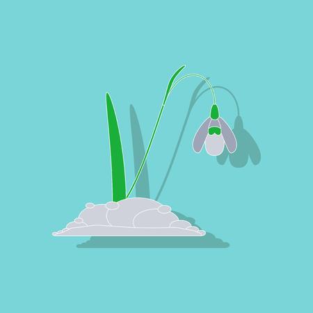 paper sticker on stylish background plant Galanthus Illustration