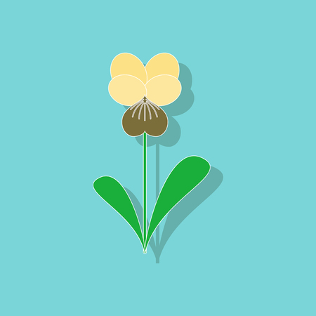 paper sticker on stylish background plant Viola Illustration