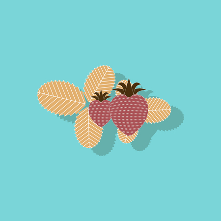 paper sticker on stylish background plant Fragaria