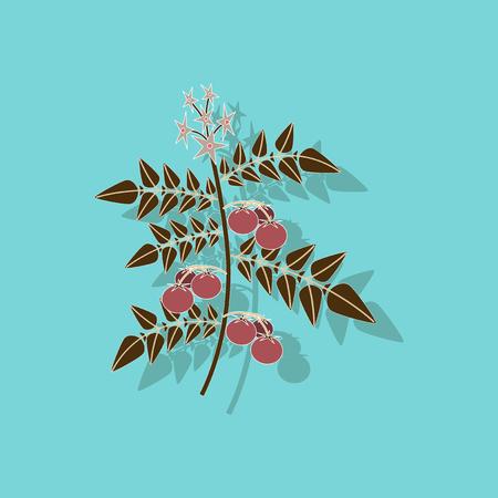 paper sticker on stylish background tomato plant Illustration