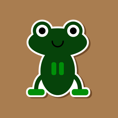 paper sticker on stylish background frog cartoon