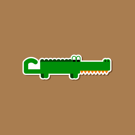 paper sticker on stylish background crocodile