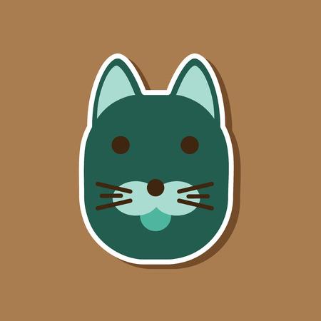 paper sticker on stylish background cartoon cat