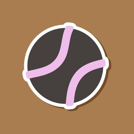 paper sticker on stylish background dog toy ball
