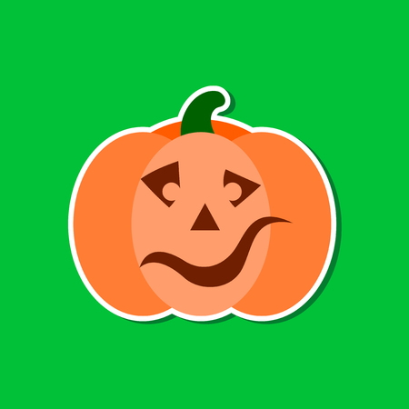 paper sticker on stylish background halloween pumpkin