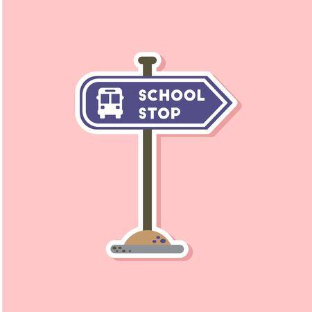 schoolbus: paper sticker on stylish background school stop sign