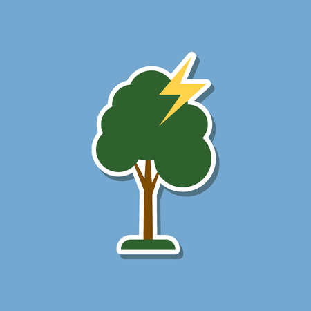 paper sticker on stylish background lightning tree