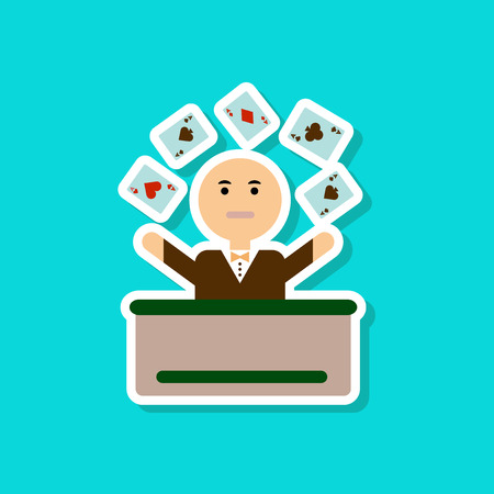 raise hand: paper sticker on stylish background of poker man player