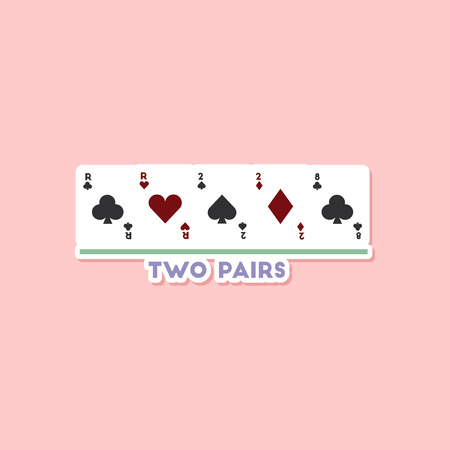 paper sticker on stylish background of poker two pairs