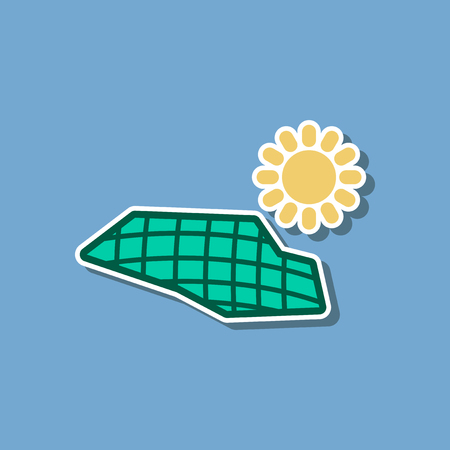 paper sticker on stylish background solar panels