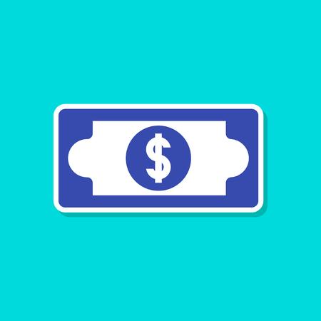 paper sticker on stylish background of dollar money