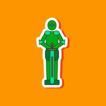 paper sticker on stylish background of Kids toy child soldier Knight